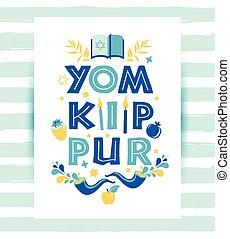 tarjeta, yom, feriado, saludo, velas, sybols., shofar, ...