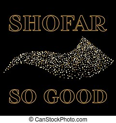 tarjeta, yom kippur, saludo, shofar, vector, illustration.