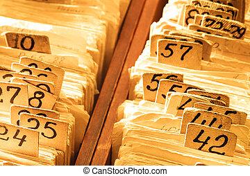 tarjetas, índice, catálogo, viejo