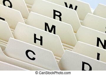 tarjetas, índice, registro