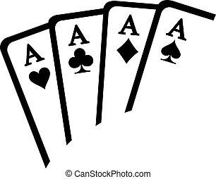 tarjetas, ases, juego, ganando