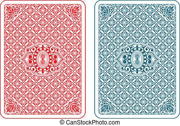 tarjetas, beta, juego, espalda