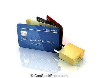 tarjetas, candado, credito