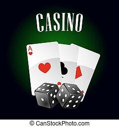 tarjetas, casino, dados, icono, juego
