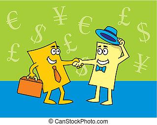 tarjetas, cierre, trato de la corporación mercantil