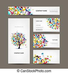 tarjetas comerciales, colección, con, tela, árbol, diseño