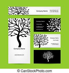 tarjetas comerciales, diseño, con, resumen, árbol, silueta