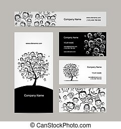 tarjetas comerciales, diseño, gente, árbol