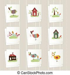 tarjetas, conjunto, caricatura