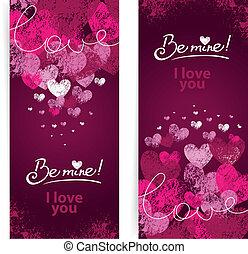 tarjetas, conjunto, día, valentines