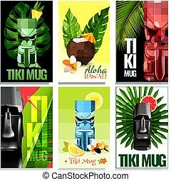 tarjetas, conjunto, hawaiano