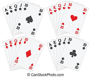 tarjetas, conjunto, juego