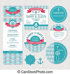 tarjetas, conjunto, marina, boda