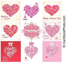 tarjetas, corazones, saludo