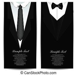 tarjetas, corbata, empresa / negocio
