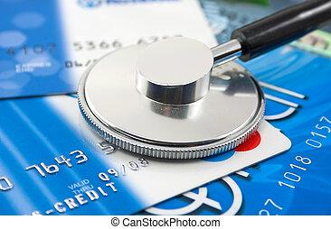 tarjetas, credito, estetoscopio, pago
