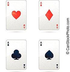 tarjetas, cuatro, juego, ases, blanco, conjunto