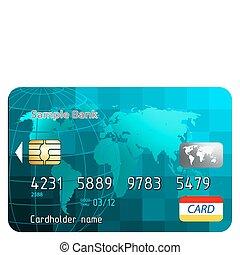 tarjetas de crédito, frente, vista., eps, 8