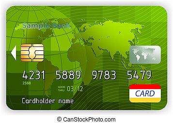 tarjetas de crédito, vista delantera, (no, transparency)., eps, 8