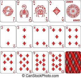 tarjetas, diamante, juego, traje