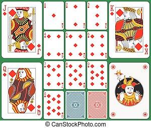 tarjetas, diamantes, juego, traje
