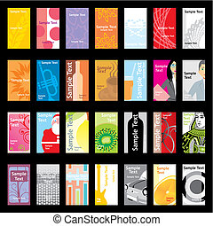 tarjetas, diferente, vector, visita, disposiciones
