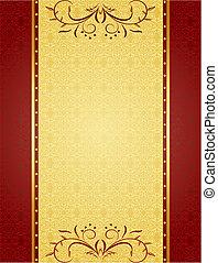 tarjetas, diseño, plano de fondo, oro, invitación