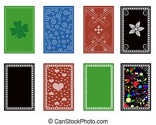 tarjetas, espalda, juego