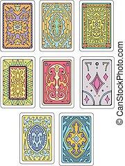 tarjetas, espaldas, juego