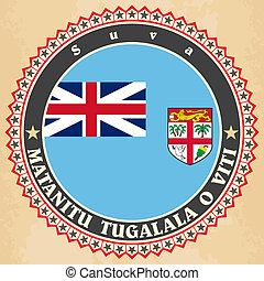 tarjetas, flag., etiqueta, fiji, vendimia