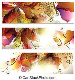 tarjetas, flor, resumen, conjunto, empresa / negocio