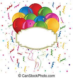 tarjetas, globos, invitaciones