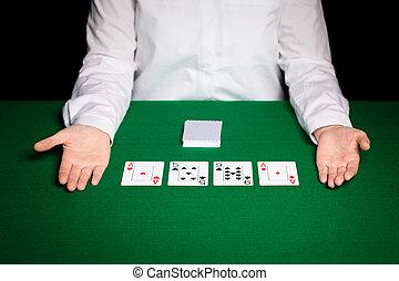 tarjetas, holdem, comerciante, juego