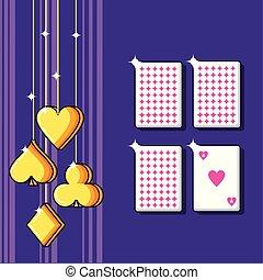 tarjetas, juego, casino, póker, iconos
