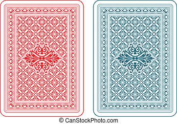 tarjetas, juego, espalda, delta