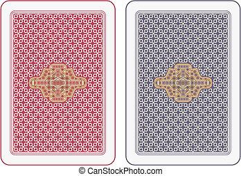 tarjetas, juego, espalda