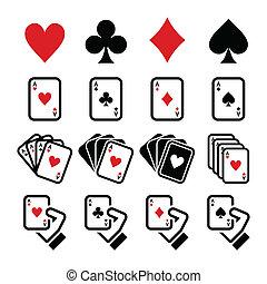 tarjetas, juego, icono, póker que juega
