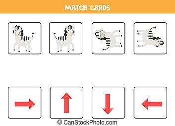 tarjetas, juego, igual, orientación, kids., zebras.