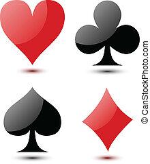 tarjetas, juego, señal