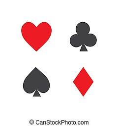tarjetas, juego, traje, vector