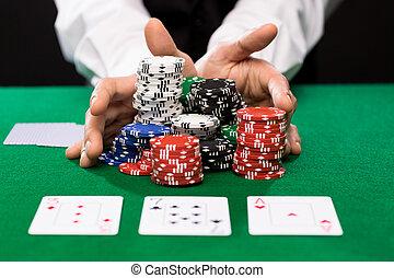 tarjetas, jugador, póker, pedacitos del casino