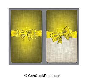 tarjetas, lino, bow., dorado
