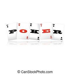 tarjetas, logotipo, póker