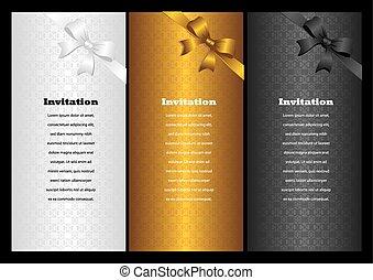 tarjetas, lujo, vertical, invitación