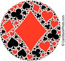 tarjetas, póker, juego, mosaico, traje