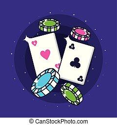 tarjetas, póker, pedacitos del casino, juego