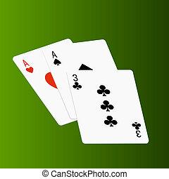 tarjetas, póker, verde