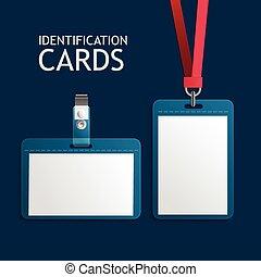 tarjetas, plástico, insignia, identificación, identificación