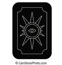 tarjetas, plano, blanco, oráculo, ilustración