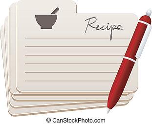 tarjetas, pluma, receta, rojo